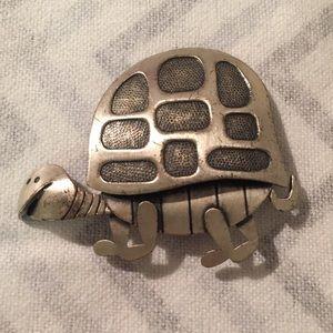 Sterling Silver Turtle Beau 925 Brooch Vintage